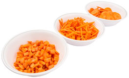 Chopped Carrots In White Bowls IV Stock Image
