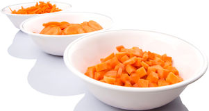 Chopped Carrots In White Bowls IX Royalty Free Stock Photo