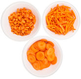 Chopped Carrots In White Bowls VI Royalty Free Stock Photos
