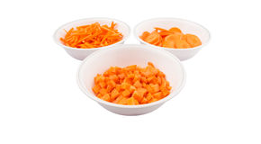 Chopped Carrots In White Bowls VII Royalty Free Stock Images