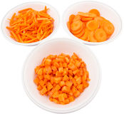 Chopped Carrots In White Bowls VIII Stock Photos