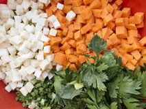 Chopped celery, parsnips, carrot and  celery stalk. Pile of mixed healthy root vegetables, celery, parsnips, carrot and  celery stalk chopped for preparing a Royalty Free Stock Image