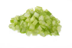 Chopped Celery. Chopped raw celery isolated on white background royalty free stock photography