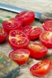 Chopped cherry tomatoes Stock Image