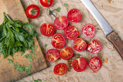 Chopped cherry tomatoes Stock Image