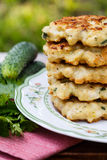 Chopped chicken cutlets. With vegetables stock photos