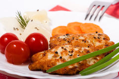 Chopped chicken meat cutlet with salty tomatoes. Chicken chopped meat cutlet with vegetables and greens Stock Images