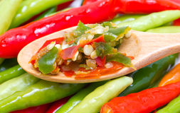 Chopped Chili On Wooden Spoon And Green And Red Chili. Royalty Free Stock Images