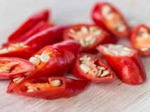 Chopped Chillies Represents Red Pepper And Burning Stock Photos