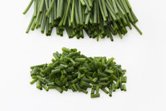 Chopped chives and chive bottoms. Some chopped chives and chives in background over white stock images