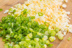 Chopped chives and eggs Royalty Free Stock Images