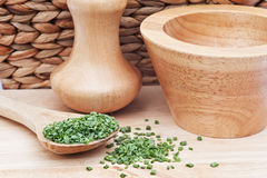 Chopped chives in rustic kitchen Royalty Free Stock Photo