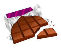 Chopped chocolate bar. Vector illustration of a chopped chocolate bar with torn packing Stock Photography