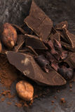 Chopped chocolate with cacao Royalty Free Stock Photography