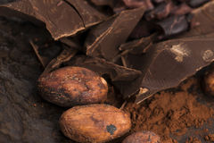 Chopped chocolate with cacao Royalty Free Stock Image