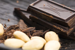 Chopped chocolate with sweet almonds Stock Photo