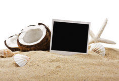 Chopped coconut and photoframe Royalty Free Stock Photo