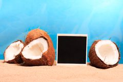 Chopped coconut and photoframe on the sand Stock Image