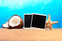 Chopped coconut and photoframe on the sand Stock Photo