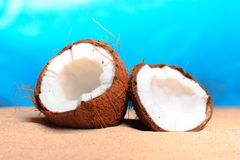 Chopped coconut on sea-beach background Royalty Free Stock Photo