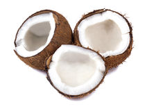Chopped coconut on white Royalty Free Stock Photos