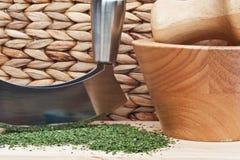 Chopped coriander cilantro leaves Royalty Free Stock Photos