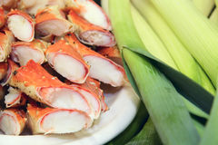 Chopped crab legs and leek Royalty Free Stock Image