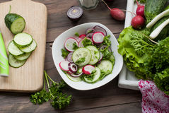 Chopped cucumber  on a cutting board Stock Photos