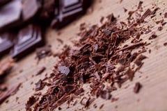 Chopped dark chocolate with cocoa. Closeup Chopped dark chocolate with cocoa Royalty Free Stock Image