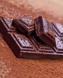 Chopped dark chocolate with cocoa. Closeup Chopped dark chocolate with cocoa Stock Photo