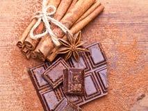 Chopped dark chocolate with cocoa. Closeup Chopped dark chocolate with cocoa stock photos