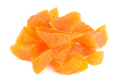 Chopped Dried Apricots on White Background Stock Photos