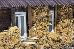 Chopped dry trunks wood outdoor at old wooden peasant house with roof walls on bright cold winter sunny day. Fire wood logs royalty free stock image