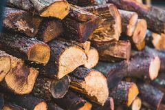 Chopped fire wooden logs perspective royalty free stock image