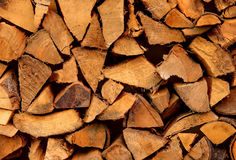 Chopped firewood. Close up from a pile of chopped firewood stock images