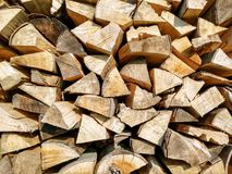 Chopped firewood drying in sun Stock Photography