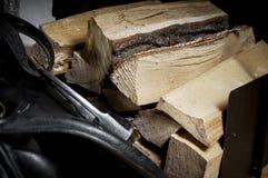 Chopped firewood lying in the barn Stock Photo