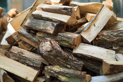Chopped firewood on a stack Royalty Free Stock Photography