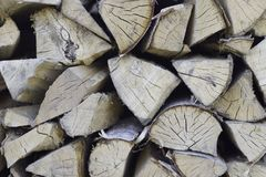 Chopped firewood on a stack Royalty Free Stock Photos