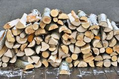 Chopped firewood on a stack. Firewood background - chopped firewood on a stack. Dry chopped firewood logs in a pile Stock Images