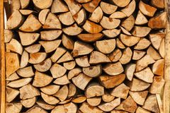 Chopped firewood stacked in boxes Royalty Free Stock Image