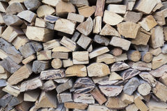 Chopped firewood, stacked  for winter. Stock Images