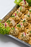Chopped Fish Salad on Crackers Stock Photos