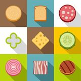 Chopped food icons set, flat style. Chopped food icons set. Flat set of 9 chopped food vector icons for web with long shadow Stock Photo