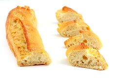 Chopped french bread Royalty Free Stock Photos