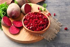 Chopped fresh beet in bowl. On table royalty free stock photos