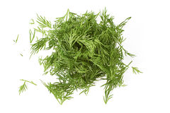 Chopped fresh dill on white Stock Images