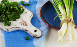 Chopped fresh green onions on  white wooden cutting board. Selective focus Royalty Free Stock Images