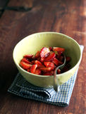 Chopped fresh ripe juicy strawberry Stock Photos