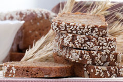 Chopped fresh rye bread Stock Photo